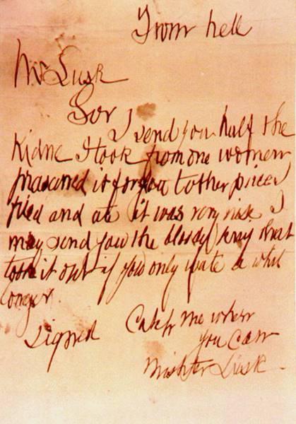 A carta supostamente enviada por Jack, o Estripador