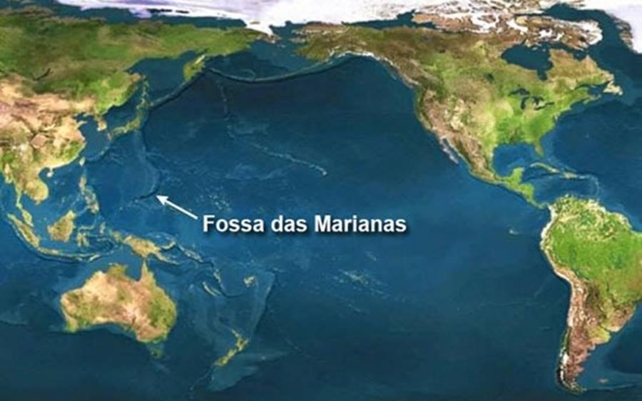 A localização da Fossa das Marianas