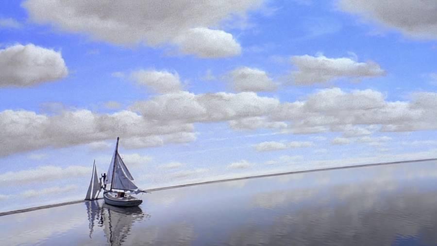 O céu é azul no Show de Thruman porque foi pintado assim
