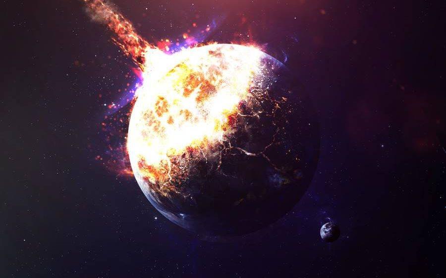 Asteroide colidindo com a Terra