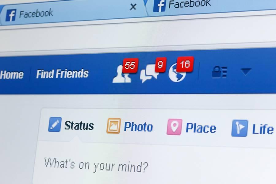 Página mostrando o Faceboo, uma das principais redes sociais