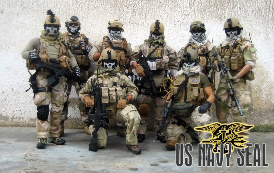 Unidade do Navy SEALs posando para a foto
