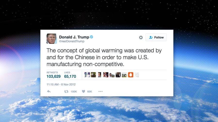 Tweet de Donald Trump falando do aquecimento global