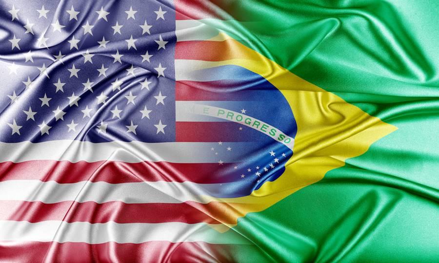 Bandeira dos Estados Unidos e Brasil unidas