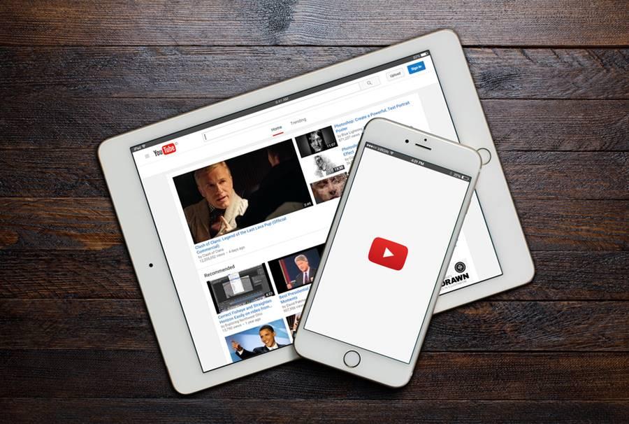 YouTube rodando no smartphone e tablet